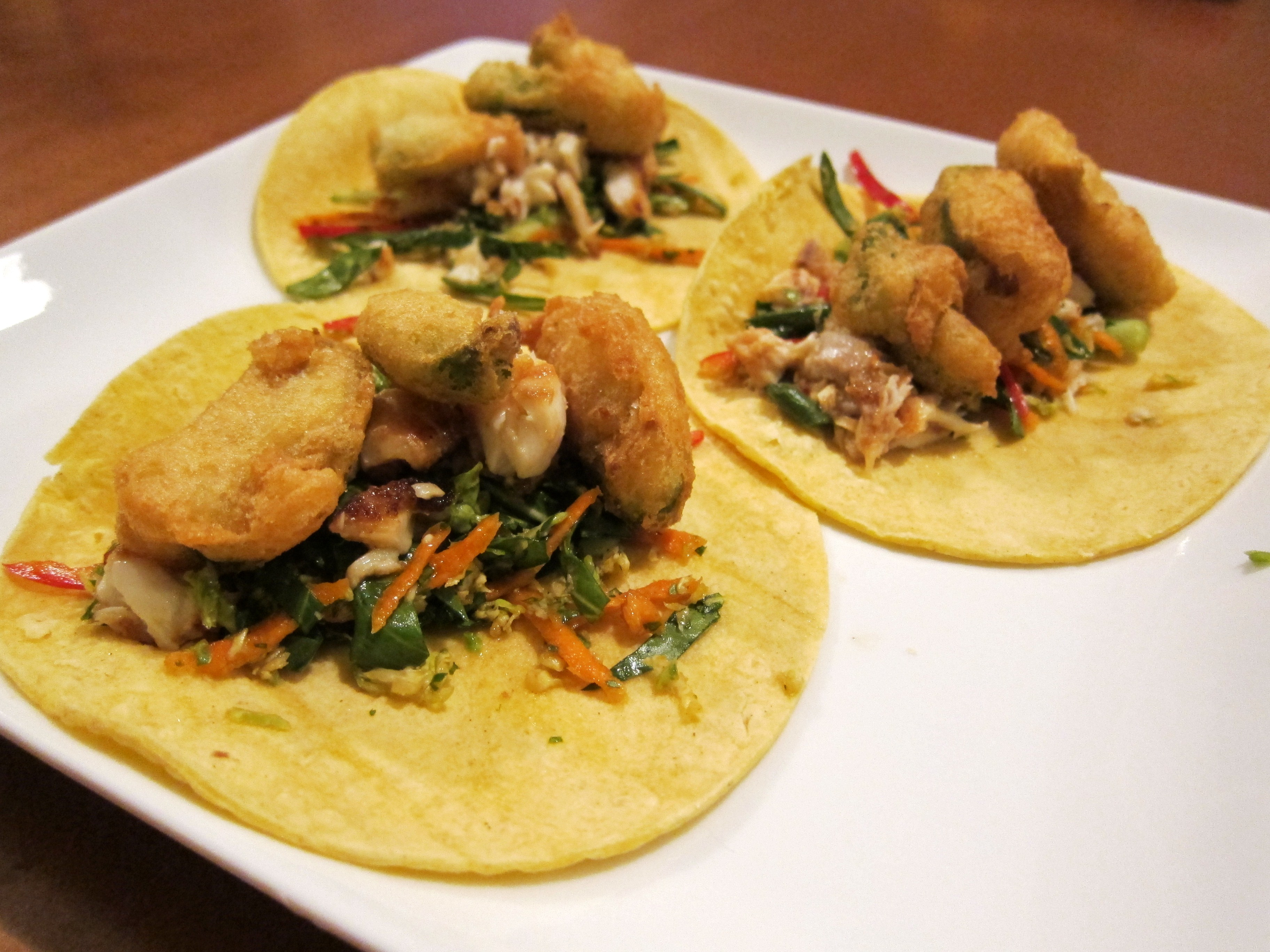 ... and boom … you've got tempura avocado tacos with spicy fish slaw