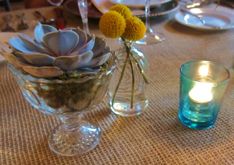 table setting succulent burlap